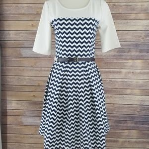 Altar'd State Fit and Flare Chevron Mini Dress
